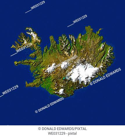 Highlighted satellite image of Iceland