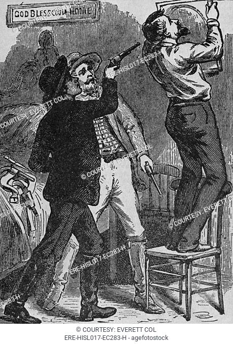 Bob Ford murdering Jesse James. His brother, Charles and Bob were Jesse's last partners, and may have been acting as a government agents or a reward seekers