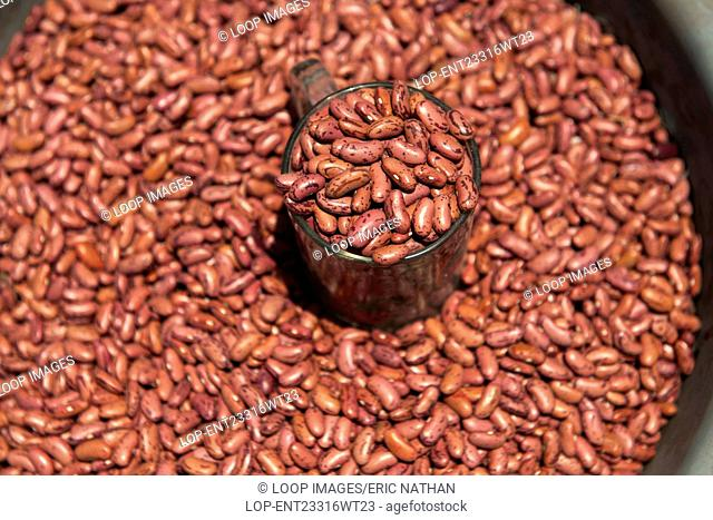 Red beans for sale in the market of Wuring fishing village near Maumere on Flores island in Indonesia