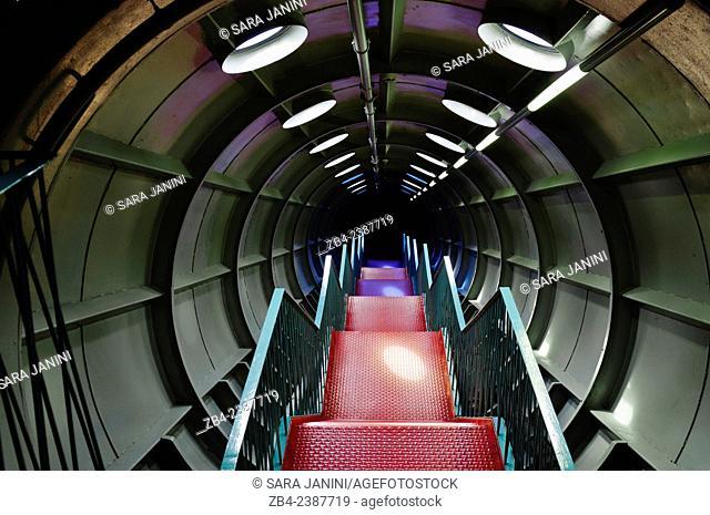 Interior of the Atomium (built for the Universal Exhibition of 1958), Brussels, Belgium, Europe