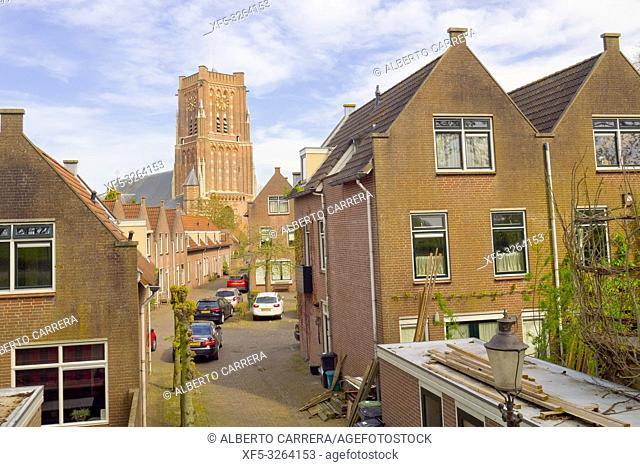 Street Scene, St. Martin's Church, Woudrichem, Noord-Brabant Province, Holland, Netherlands, Europe