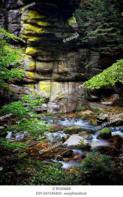 Szklarka stream in autumn forest, Karkonoski National Park, Karkonosze Mountains, Poland