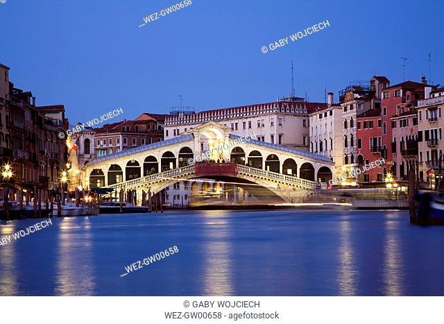Italy, Venice, Grand Canal, Rialto Bridge
