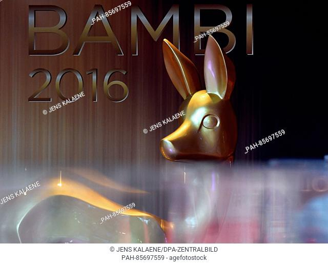 A Bambi figure is seen ahead of the ceremonial gala with awards ceremony, to take place on 17 November 2016, in the Stage Theater inBerlin,Germany