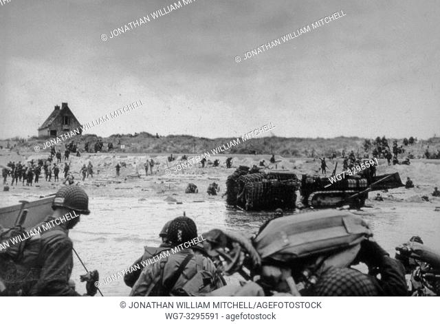 FRANCE Omaha Beach -- 06 Jun 1944 -- US Army and US Navy assault troops land on Utah Beach in Normandy France on D-Day. The Allied invasion of Normandy marked...