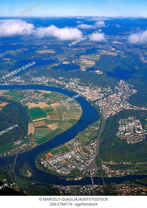 Aerial view of Zurich Metropolitan Area and Limmat River. Switzerland, Europe