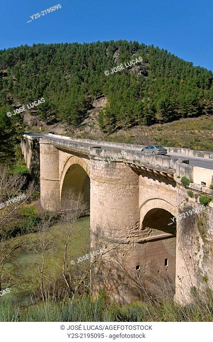 Renaissance bridge and river Genil, 16th century, Benameji, Cordoba-province, Region of Andalusia, Spain, Europe