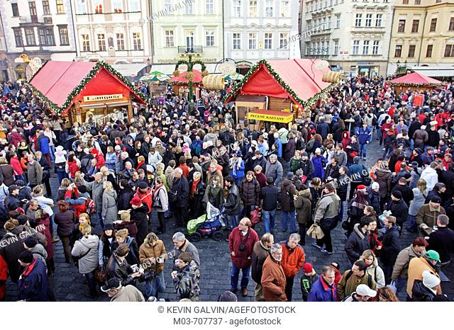 Christmas market in Old Town Square, Prague. Czech Republic