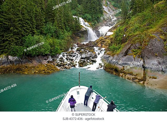 A waterfall in the Le Conte Glacier area, which is the southernmost tidewater glacier in the United States, near Petersburg, South East Alaska