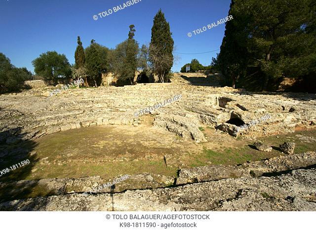 Pollentia deposit, Roman Theatre century BC, Alcudia Mallorca, Spain Balearic Islands