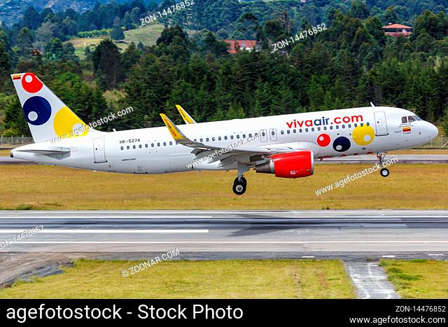 Medellin, Colombia ? January 25, 2019: Vivaair Airbus A320 airplane at Medellin Rionegro airport (MDE) in Colombia