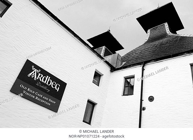 Scotland, Exterior of a ardbeg distillery