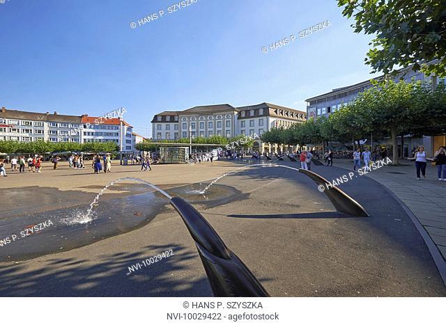 The Königsplatz with water spiers in Kassel, Hesse, Germany