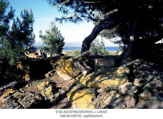 Glimpse of the Tophet of the ancient city of Sulci, Sardinia, Italy. Punic civilisation