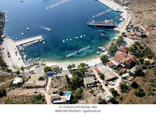 Aerial view of Agios Nikolaos port. Boats leave daily for the famous blue caves near Cape Skinari. Zakynthos, Ionian Islands, Greece, Europe