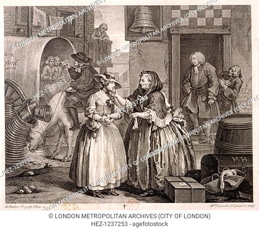 'Innocence betrayed, or the journey to London', plate I of The Harlot's Progress, 1732; shows Mary Hackabout arriving at the Bell Inn, Wood Street, London