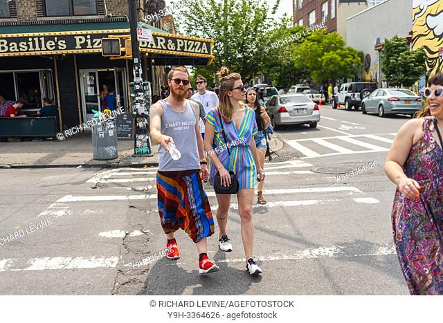 Thousands pour into Bushwick, Brooklyn in New York for the annual Bushwick Collective Block Party on Saturday, June 1, 2019