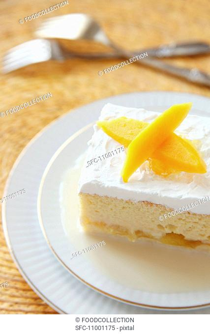 Piece of Tres Leche Cake with Mango