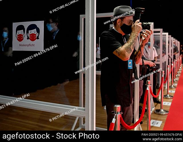 """20 September 2020, Berlin: Photographers are standing on the red carpet at """"""""kinder Tag 2019"""""""" at Radialsystem V. On the occasion of World Children's Day"""