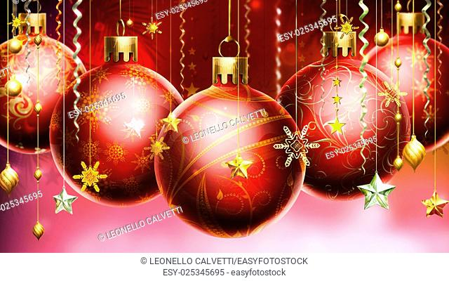 Christmass abstract red background with big decorated red balls in foreground