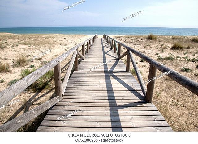 Wooden Path down to Beach at El Palmar, Cadiz, Andalusia, Spain