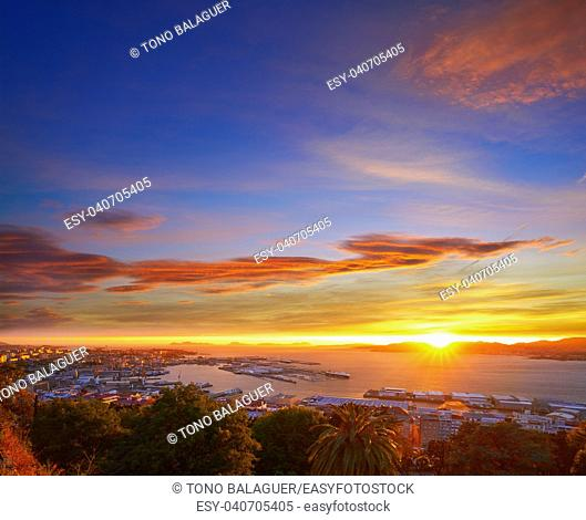 Vigo skyline and port sunset in Galicia of Spain