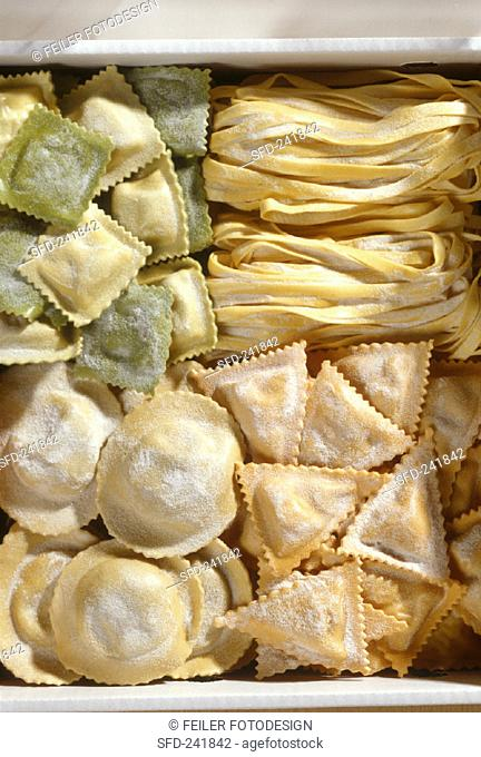 Four types of home-made pasta