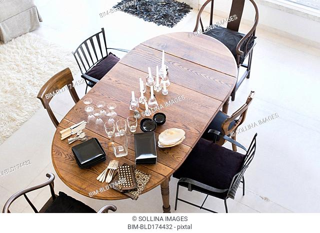 High angle view of dining table