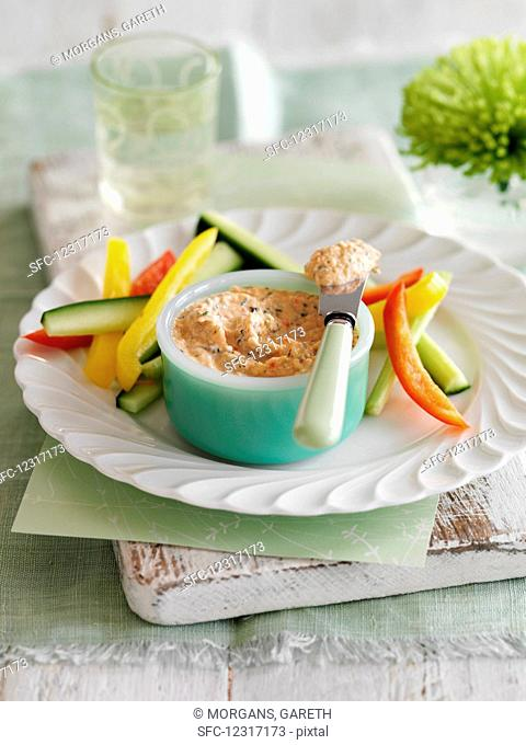 Smoked trout and dill pâté with vegetable sticks
