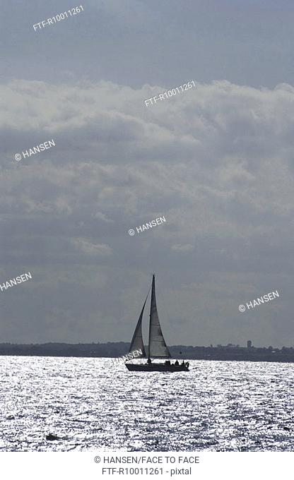 Sailing boat in front of the island, Poel, Germany