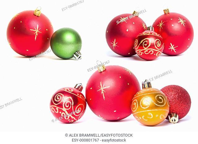 Christmas Bauble Still Lives over white