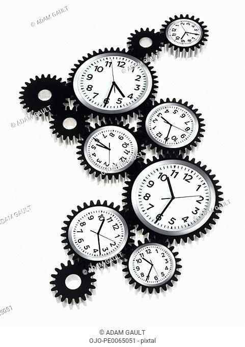 Clocks shaped like cogs