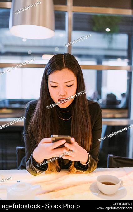 Elegant young woman using smartphone in a cafe