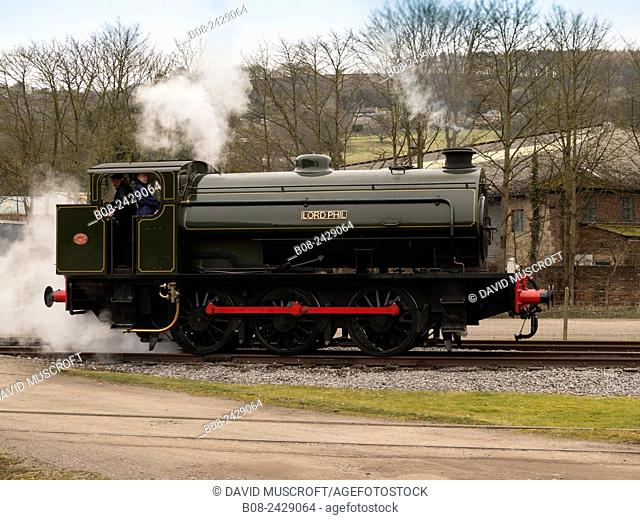 vintage steam locomotive Lord Phil at the Rowsley station, Peak Rail, Derbyshire, UK