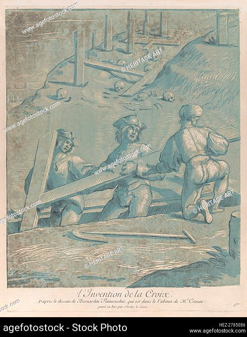 The invention of the cross; three men lifting a cross from a trench; from 'Recueil .., ca. 1729-64. Creator: Nicolas Le Sueur