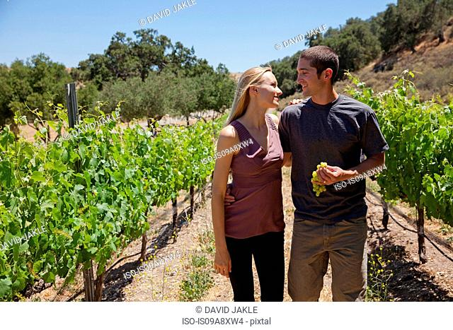 Young couple in vineyard, man holding white grapes