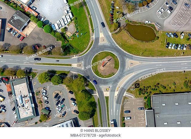 Möhnestraße Ostring B7 and B480 roundabout, Brilon, Sauerland, Hochsauerlandkreis, North Rhine-Westphalia, Germany, Europe