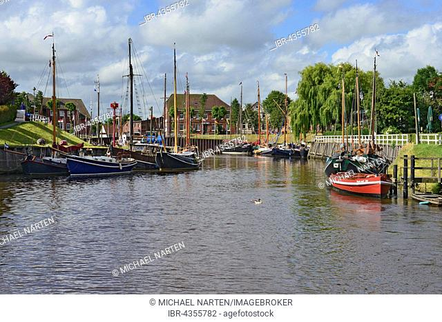 Harle and museum harbour, historic ships, Carolinensiel, East Frisia, Lower Saxony, Germany