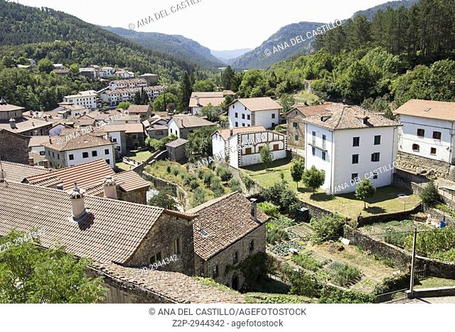 Old architecture in Roncal village Roncal valley in Navarre Spain