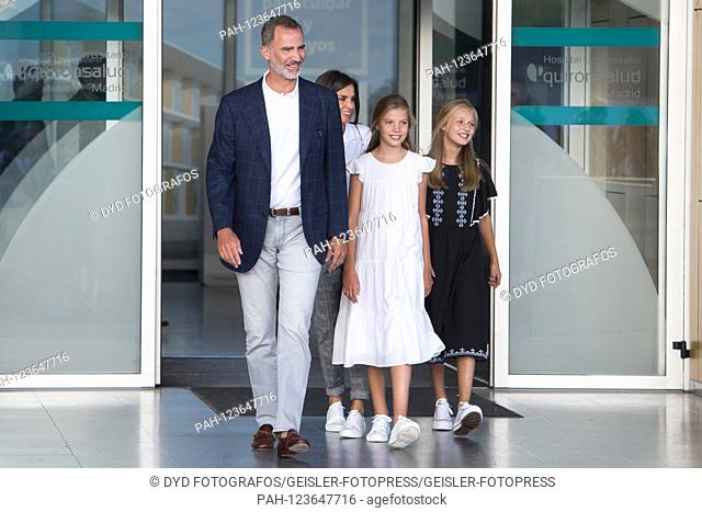 King Felipe VI. From Spain, Queen Letizia of Spain, Princess Sofia of Spain and Princess Leonor of Spain visit Juan Carlos after his heart surgery at the...