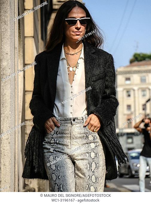 MILAN, Italy- September 20 2018: Erika Boldrin on the street during the Milan Fashion Week