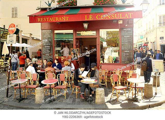 Bar Restaurant in Montmartre district, Paris, France