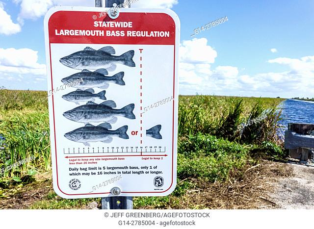 Florida, Everglades, Alligator Alley, sign, fishing, largemouth bass regulation, limit, Francis S. Taylor Wildlife Management Area