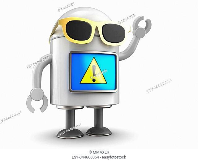 3d illustration of robot over white background