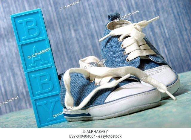 A cute pair of denim baby shoes for the young boy