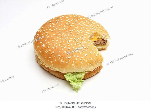 cheeseburger on white