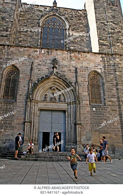 Sant Just church and square, gothic, Barcelona, Spain