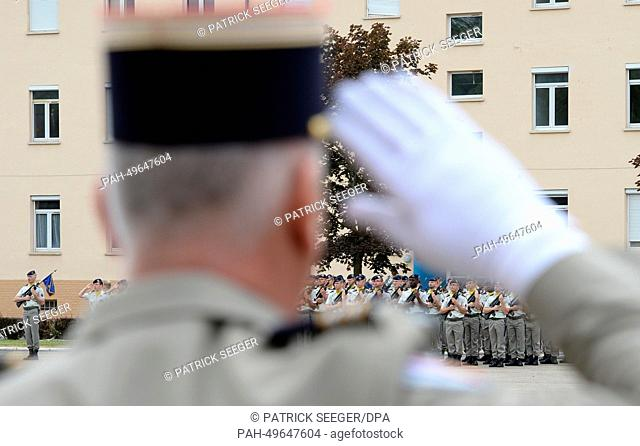 Soldiers of the 110th infantry regiment of the French Army participate in a military ceremony at the Fuerstenberg barrack in Donaueschingen, Germany