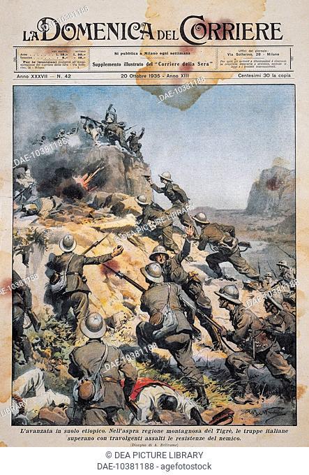 Italian troops advancing on Ethiopian soil. By Achille Beltrame (1871-1945), illustration from La Domenica del Corriere, October 20, 1935