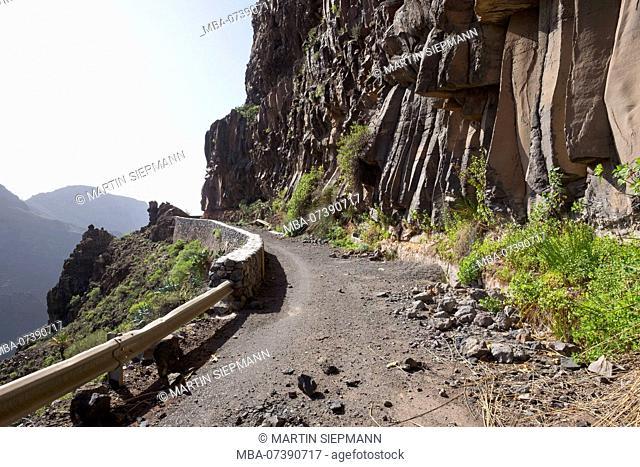 old road with rockfall, Valle Gran Rey, La Gomera, Canary Islands, Canaries, Spain